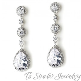 Teardrop CZ Bridal Chandelier Earrings Cubic Zirconia Crystal