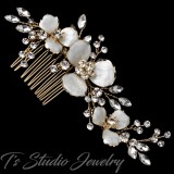 Gold Flower Bridal Wedding Hair Comb