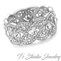 Silver Crystal Rhinestone Bridal Cuff Bracelet
