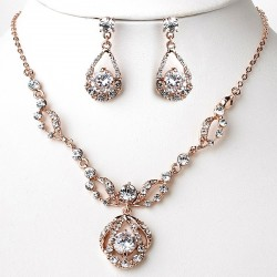 Rose Gold Necklace & Earrings Jewelry Set