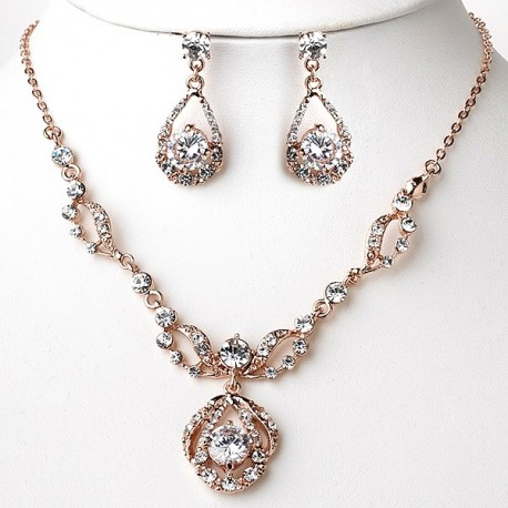 Rose Gold Necklace & Earrings Bridal Jewelry Set