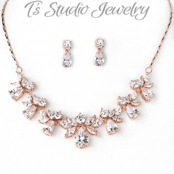 Rose Gold Cubic Zirconia Bridal Jewelry Set