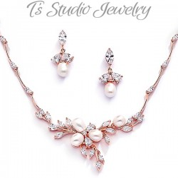 Rose Gold Pearl Wedding Jewelry Set