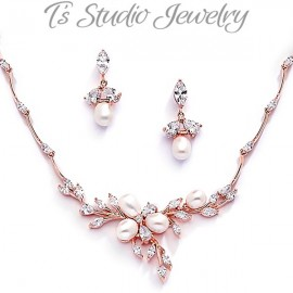 Freshwater Pearl Gold Necklace & Earrings Bridal Jewelry Set