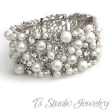 Pearl and Crystal Bridal Cuff Bracelet