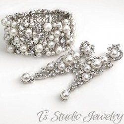 Pearl Bridal Cuff Bracelet & Earrings Set