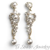 Long Gold Pearl & Crystal Wedding Earrings