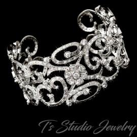 Wide Silver Floral CZ Bridal Cuff Bracelet