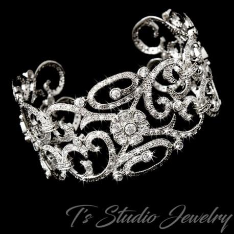 Wide Silver Fl Cz Bridal Cuff Bracelet
