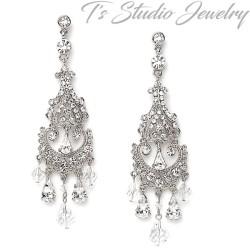 Long Silver Crystal Bridal Chandelier Earrings