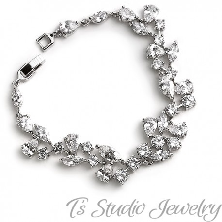 Silver Cubic Zirconia Wedding Bracelet