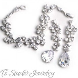 Silver CZ Wedding Bracelet & Earrings Set