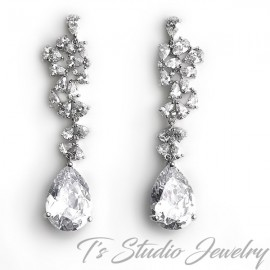 Pear CZ Bridal Chandelier Earrings