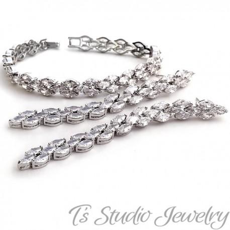 Marquise CZ Cubic Zirconia Tennis Bridal Bracelet