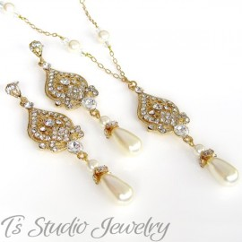 Pearl & Gold Chain Bridal Necklace & Earrings Set