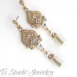 Teardrop Pearl Bridal Chandelier Earrings in White or Ivory Pearls