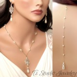 Pearl Bridal Backdrop Necklace & Earrings Set