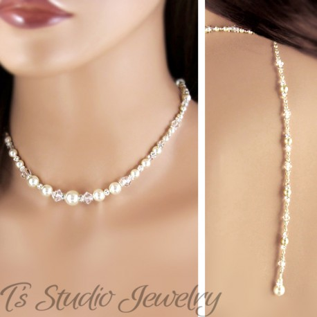 Back Drop Lariat Pearl Bridal Necklace