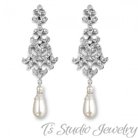 1e54235bbc73e5 Long Cascading Pearl & Rhinestone Wedding Earrings with Leaf Accents