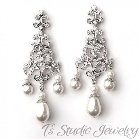 Pearl Rhinestone Bridal Chandelier Earrings