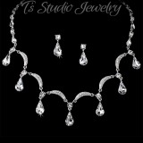 Silver Necklace & Earrings Bridal Jewelry Set