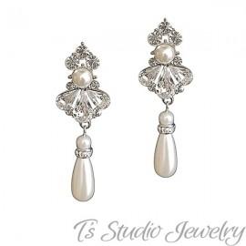 Crystal and Pearl Bridal Wedding Earrings
