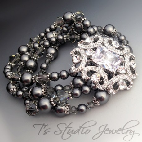 Pearl and Crystal Rhinestone Cuff Bridal Bracelet