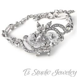 CZ Cubic Zirconia Silver Bridal Bracelet