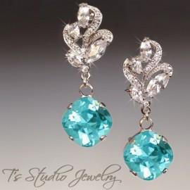 Cushion Cut Crystal Bridesmaid Earrings
