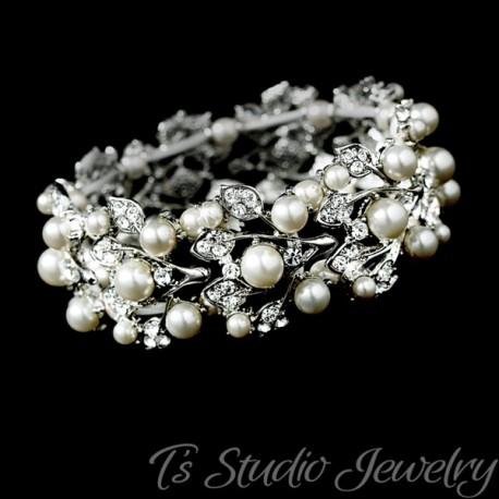 Silver Ivory Pearl Crystal Cuff Bridal Wedding Bracelet