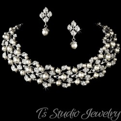 Ivory Pearl Bridal Choker Necklace Set
