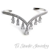 Silver Pave CZ Bridal Wedding Bracelet