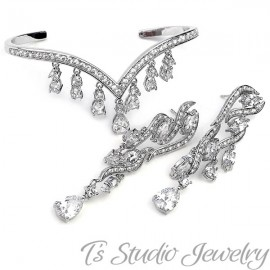 Pave CZ Bridal Bracelet & Earring Set