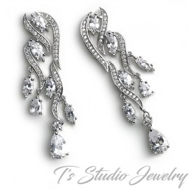 Pave CZ Bridal Chandelier Earrings