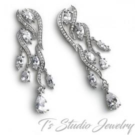 Pave CZ Bridal Chandelier Earrings