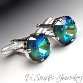 Peacock Blue Cushion Cut Crystal Cufflinks