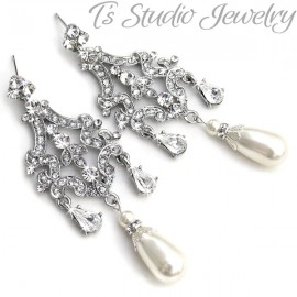 Pearl and Silver Bridal Chandelier Earrings