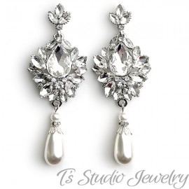 Vintage Style Pearl Bridal Chandelier Earrings