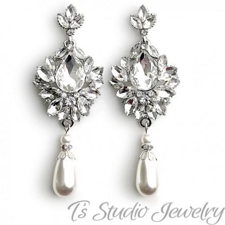 Vintage Pearl Bridal Chandelier Earrings Great Gatsby Style Earings