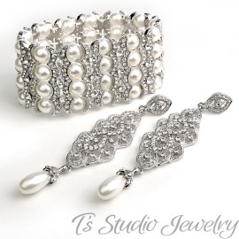 4-Strand Pearl & Rhinestone Cuff Bridal Bracelet & Chandelier Earrings Set