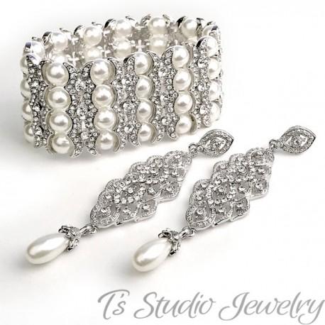 4-Strand Pearl & Rhinestone Cuff Bridal Bracelet & Chandelier Earrings Set