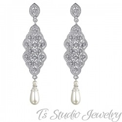 Silver Pave Pearl Bridal Earrings