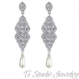 Silver Pave Pearl Bridal chandelier Wedding Earrings