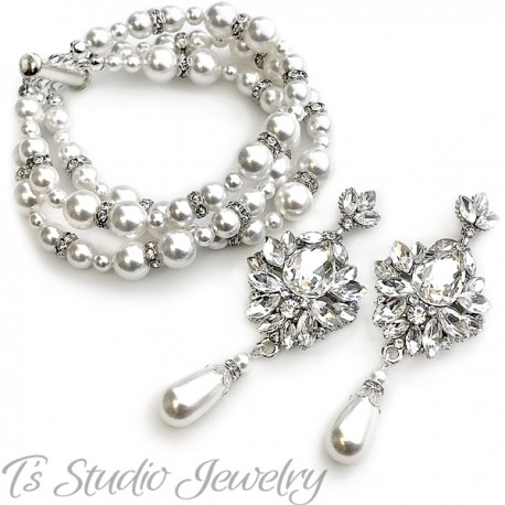 Vintage Style Pearl Bridal Bracelet Earrings Wedding Jewelry Set