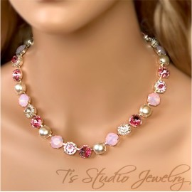Tickled Pink Rose Opal Pearl and Crystal Necklace