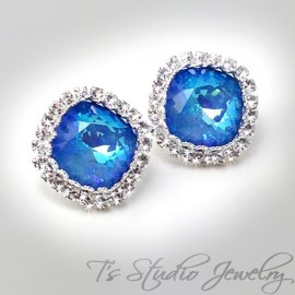 Swarovski Cushion Cut Crystal Stud Earrings