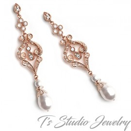 Rose Gold Pearl Pave Bridal Earrings