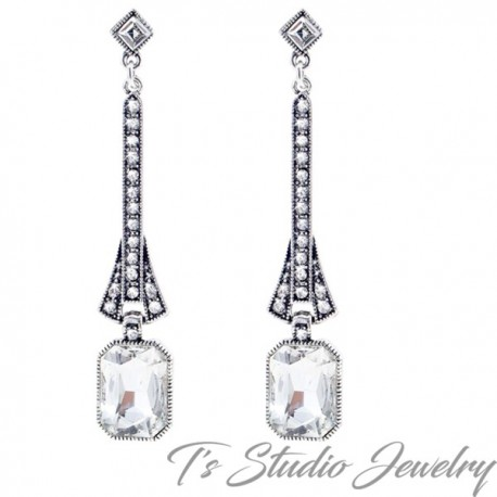 Long CZ Vintage Art Deco Style Bridal Earrings