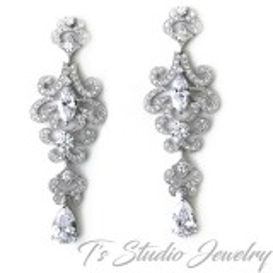 CZ Cubic Zirconia Chandelier Bridal Earrings