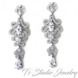 CZ Cubic Zirconia Chandelier Bridal Earrings